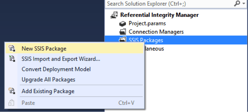 new SSIS package