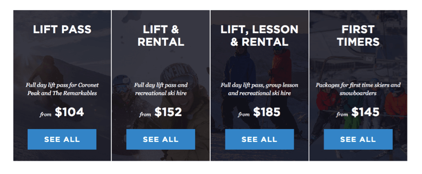 Pricing grid NZ Ski