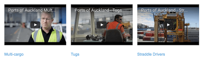 Some of the careers videos hosted on the port's website