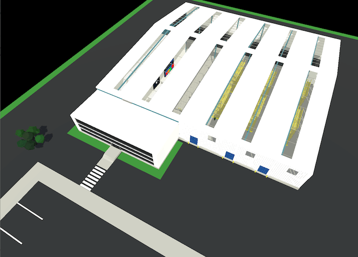 Overhead of a large-scale warehouse Digital Twin in Mixiply/AR