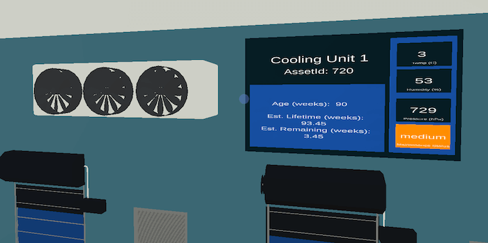 Warehouse's Digital Twin cooling asset suggestions in Mixiply/AR